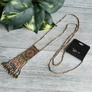 ZAD Mixed Metal Fringed Pendant Necklace